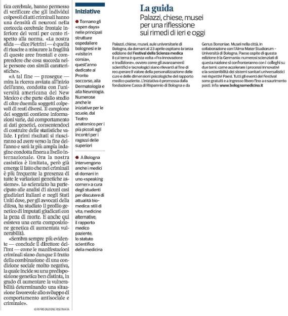 Edizione 2017 fra innovazione e tradizione bologna medicina corriere della sera 19 aprile 2017 fandeluxe Image collections